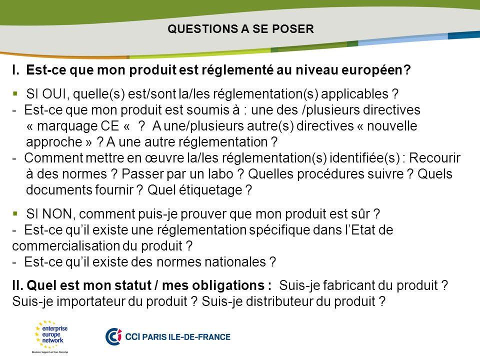 PLACE PARTNERS LOGO HERE I.Est-ce que mon produit est réglementé au niveau européen? SI OUI, quelle(s) est/sont la/les réglementation(s) applicables ?