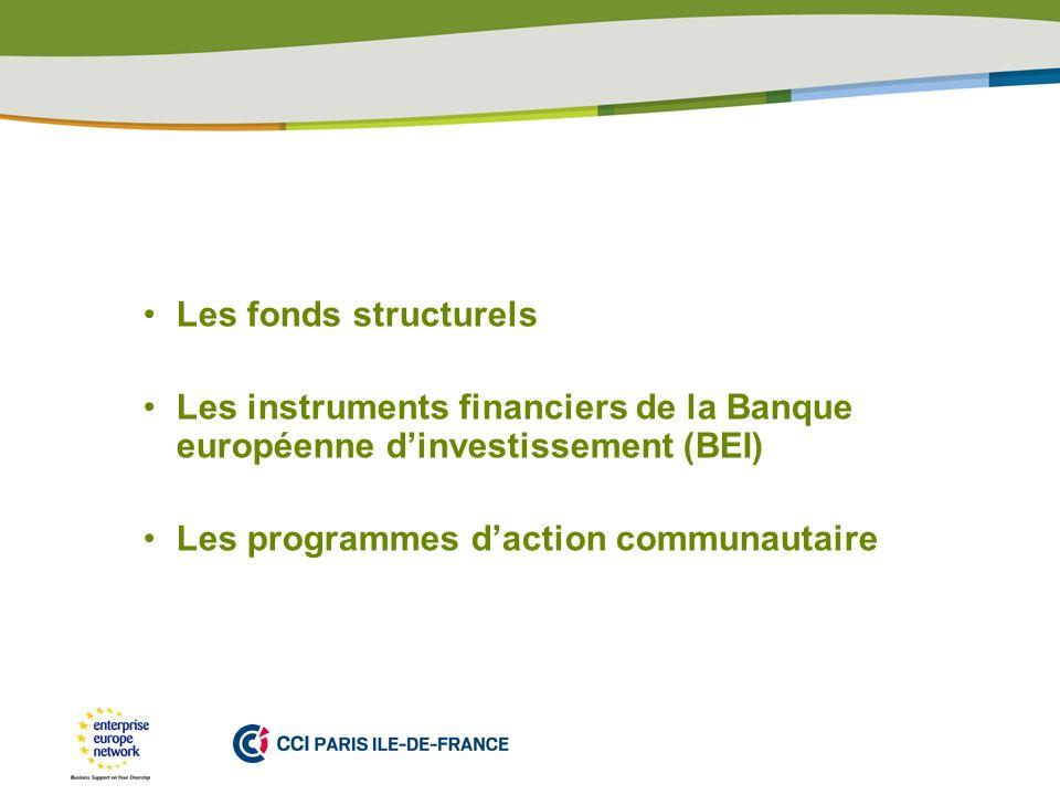PLACE PARTNERS LOGO HERE Les fonds structurels Les instruments financiers de la Banque européenne dinvestissement (BEI) Les programmes daction communautaire