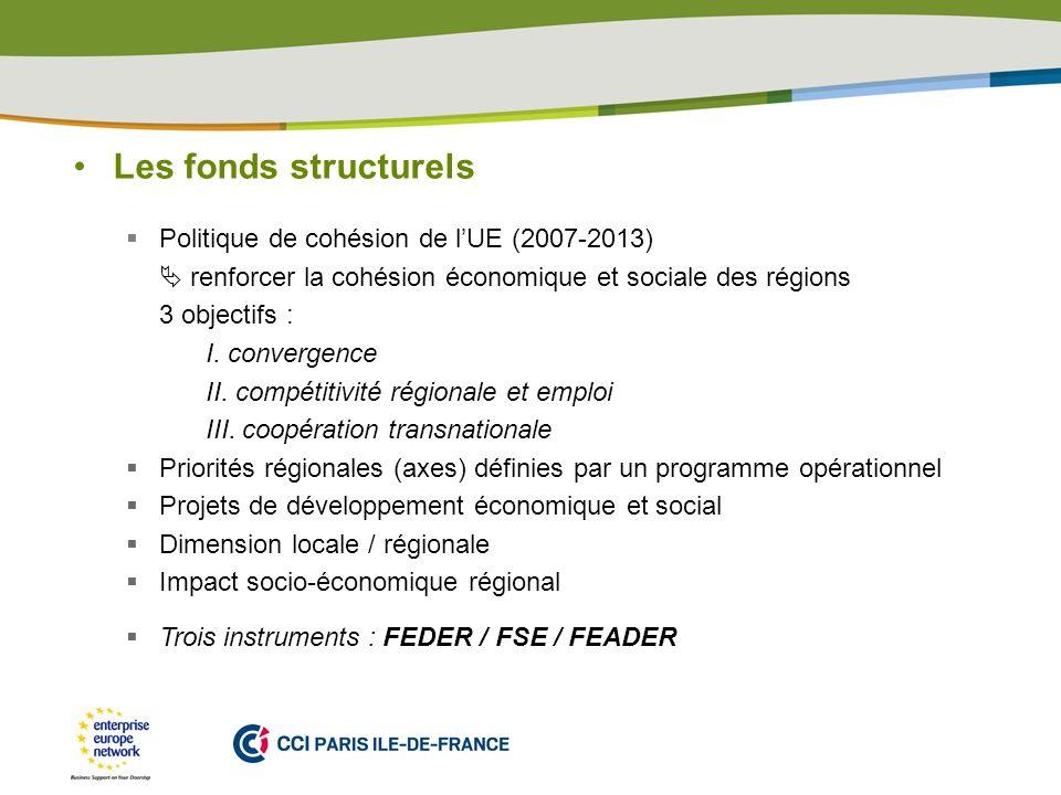 PLACE PARTNERS LOGO HERE Les fonds structurels Politique de cohésion de lUE (2007-2013) renforcer la cohésion économique et sociale des régions 3 objectifs : I.