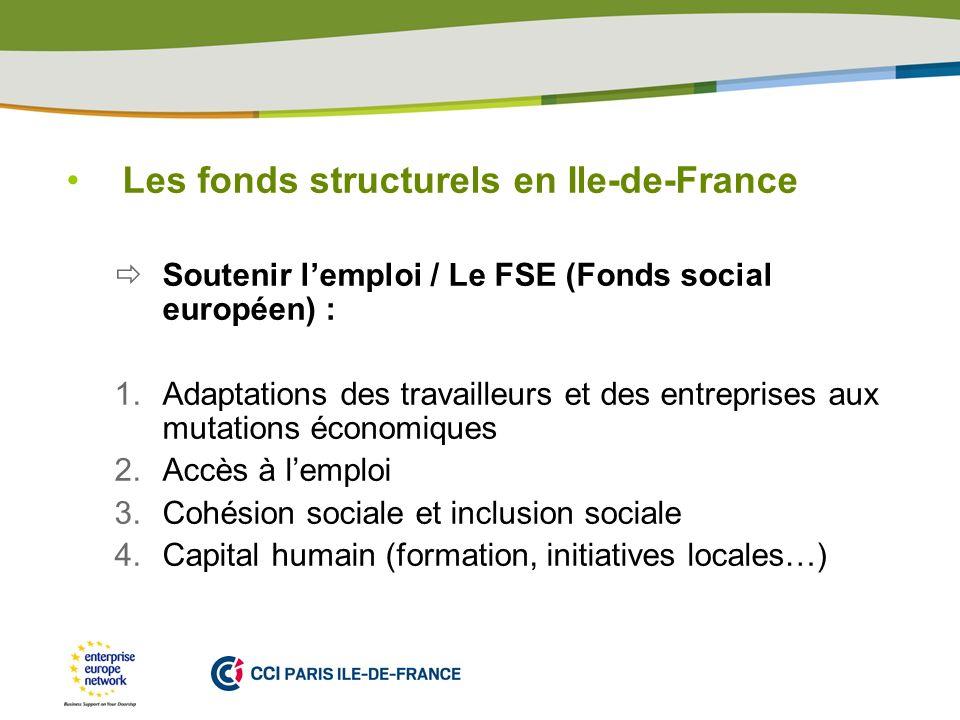 PLACE PARTNERS LOGO HERE Les fonds structurels en Ile-de-France Soutenir lemploi / Le FSE (Fonds social européen) : 1.Adaptations des travailleurs et