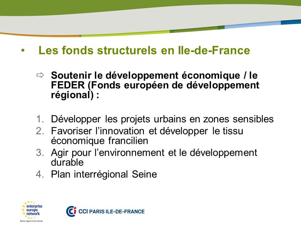 PLACE PARTNERS LOGO HERE Les fonds structurels en Ile-de-France Soutenir le développement économique / le FEDER (Fonds européen de développement régio