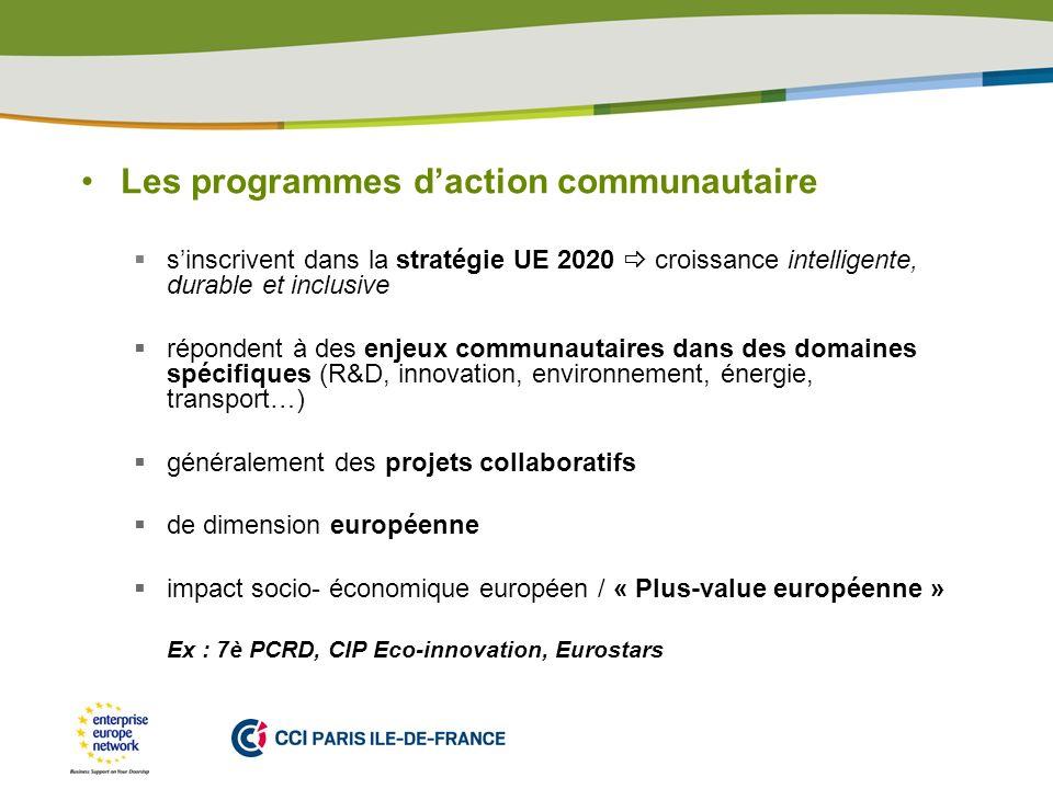 PLACE PARTNERS LOGO HERE Les programmes daction communautaire sinscrivent dans la stratégie UE 2020 croissance intelligente, durable et inclusive répondent à des enjeux communautaires dans des domaines spécifiques (R&D, innovation, environnement, énergie, transport…) généralement des projets collaboratifs de dimension européenne impact socio- économique européen / « Plus-value européenne » Ex : 7è PCRD, CIP Eco-innovation, Eurostars