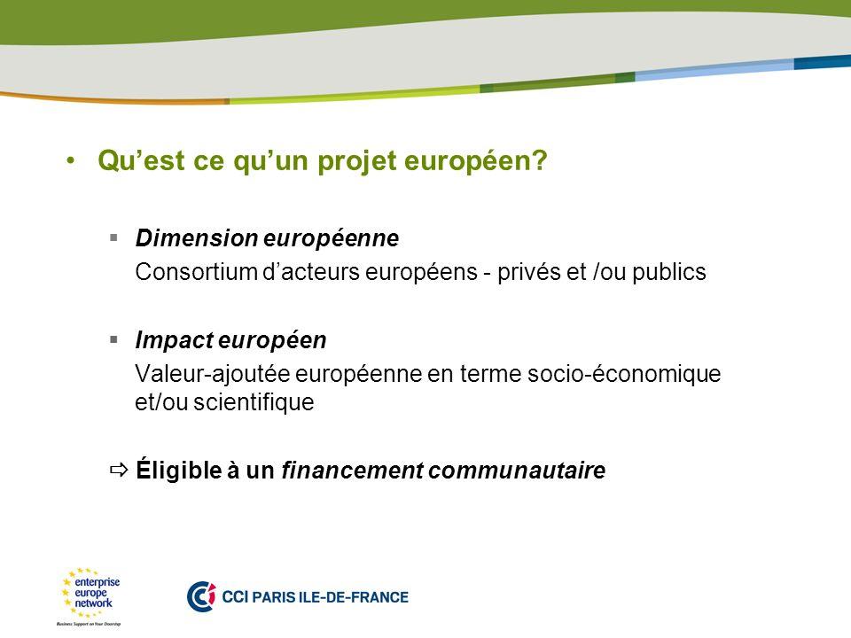 PLACE PARTNERS LOGO HERE Quest ce quun projet européen? Dimension européenne Consortium dacteurs européens - privés et /ou publics Impact européen Val