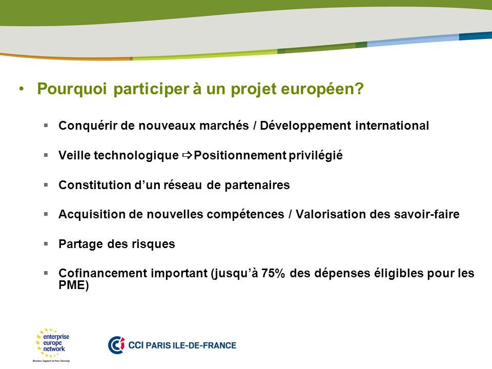 PLACE PARTNERS LOGO HERE Pourquoi participer à un projet européen? Conquérir de nouveaux marchés / Développement international Veille technologique Po
