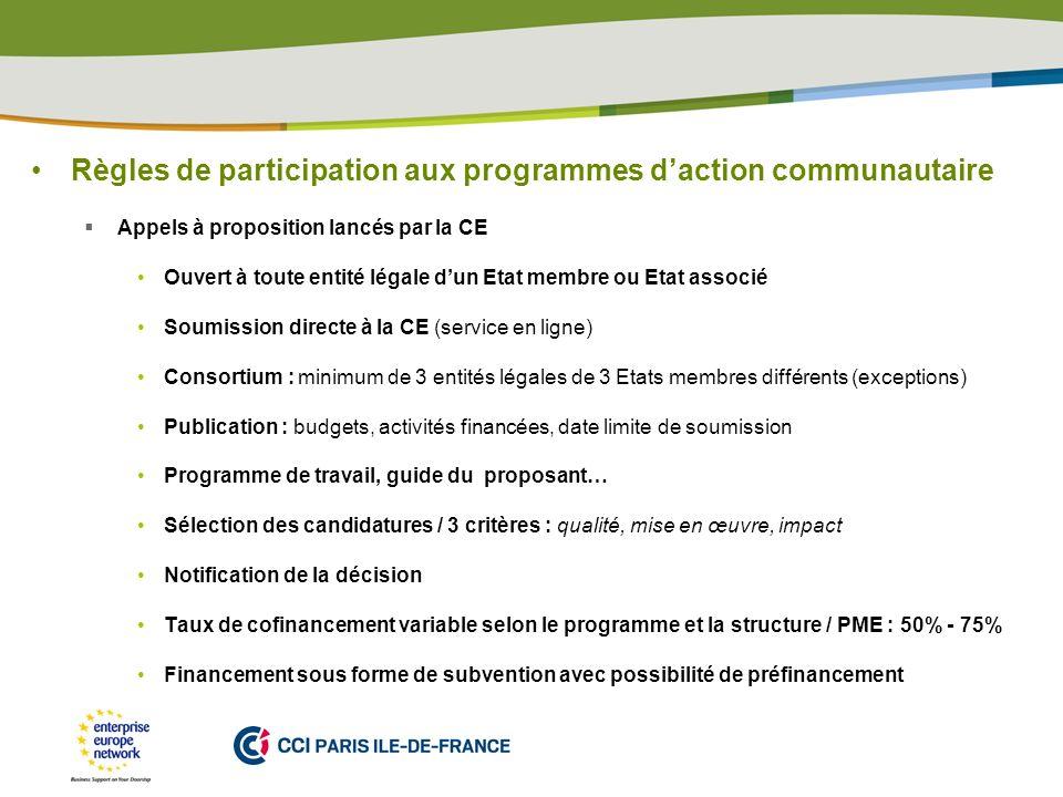 PLACE PARTNERS LOGO HERE Règles de participation aux programmes daction communautaire Appels à proposition lancés par la CE Ouvert à toute entité léga
