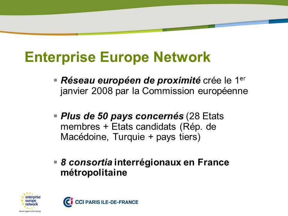 PLACE PARTNERS LOGO HERE Enterprise Europe Network Réseau européen de proximité crée le 1 er janvier 2008 par la Commission européenne Plus de 50 pays concernés (28 Etats membres + Etats candidats (Rép.