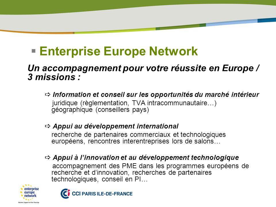 PLACE PARTNERS LOGO HERE Enterprise Europe Network Un accompagnement pour votre réussite en Europe / 3 missions : Information et conseil sur les oppor