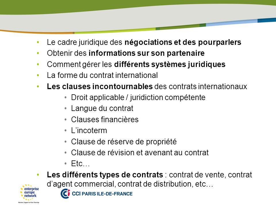 PLACE PARTNERS LOGO HERE Le cadre juridique des négociations et des pourparlers Obtenir des informations sur son partenaire Comment gérer les différen