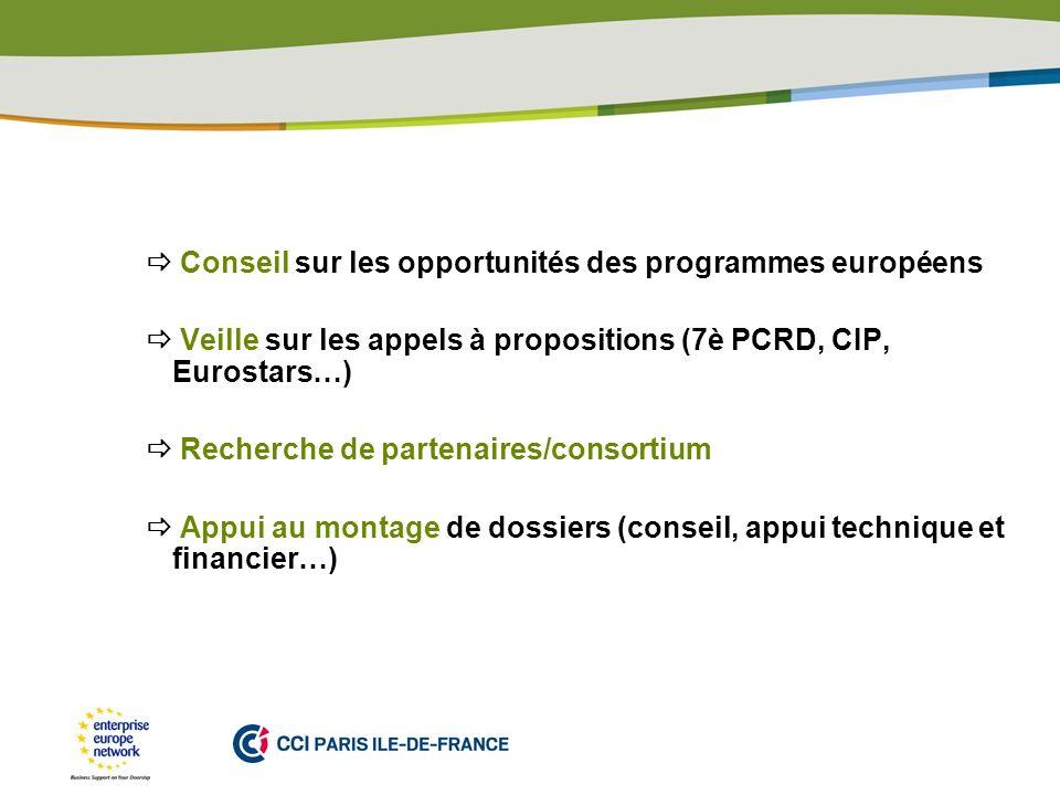 PLACE PARTNERS LOGO HERE Conseil sur les opportunités des programmes européens Veille sur les appels à propositions (7è PCRD, CIP, Eurostars…) Recherche de partenaires/consortium Appui au montage de dossiers (conseil, appui technique et financier…)