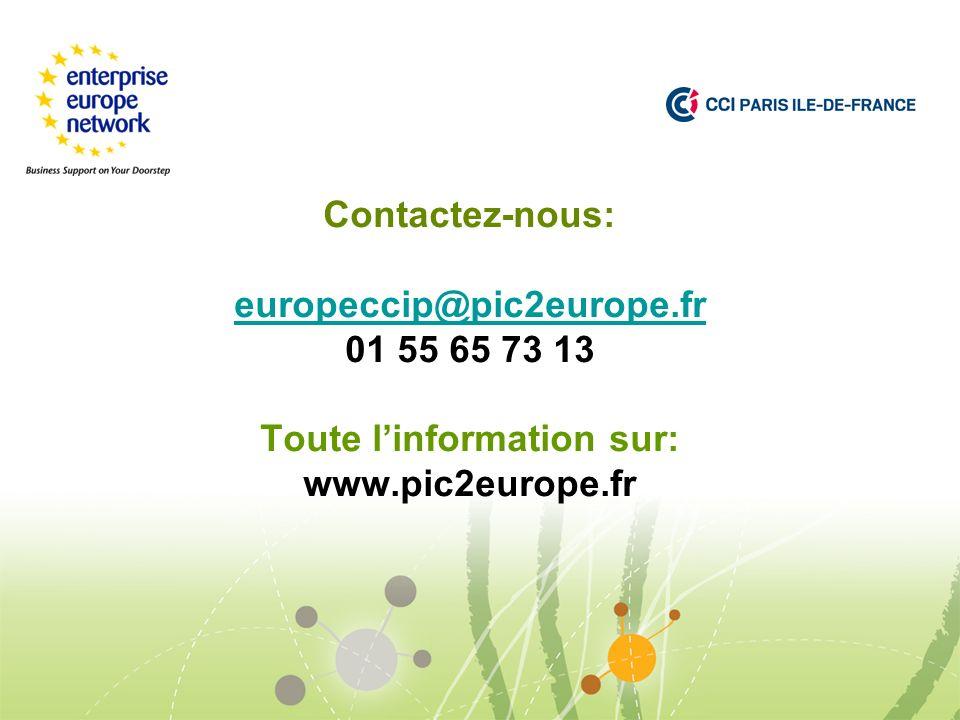 Contactez-nous: europeccip@pic2europe.fr 01 55 65 73 13 Toute linformation sur: www.pic2europe.fr europeccip@pic2europe.fr
