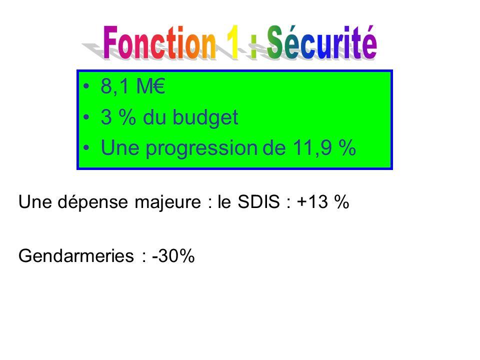 Une dépense majeure : le SDIS : +13 % Gendarmeries : -30% 8,1 M 3 % du budget Une progression de 11,9 %