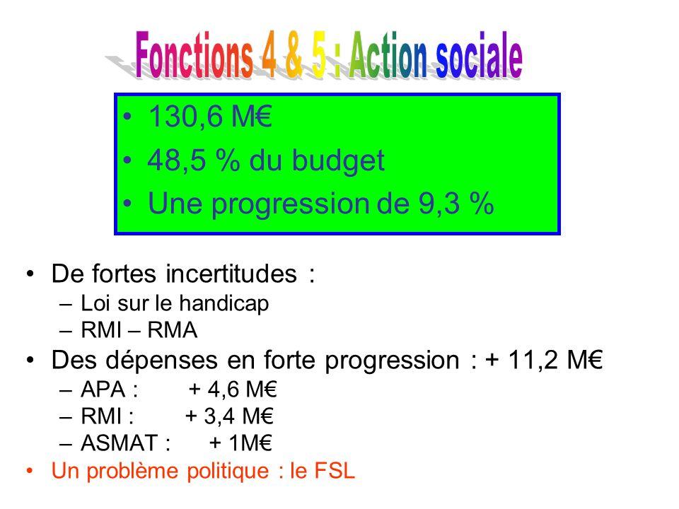 De fortes incertitudes : –Loi sur le handicap –RMI – RMA Des dépenses en forte progression : + 11,2 M –APA : + 4,6 M –RMI : + 3,4 M –ASMAT : + 1M Un p