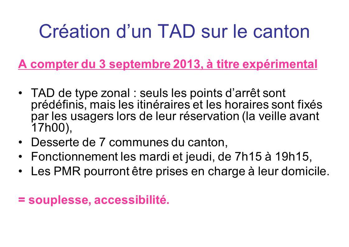 Création dun TAD sur le canton A compter du 3 septembre 2013, à titre expérimental TAD de type zonal : seuls les points darrêt sont prédéfinis, mais l