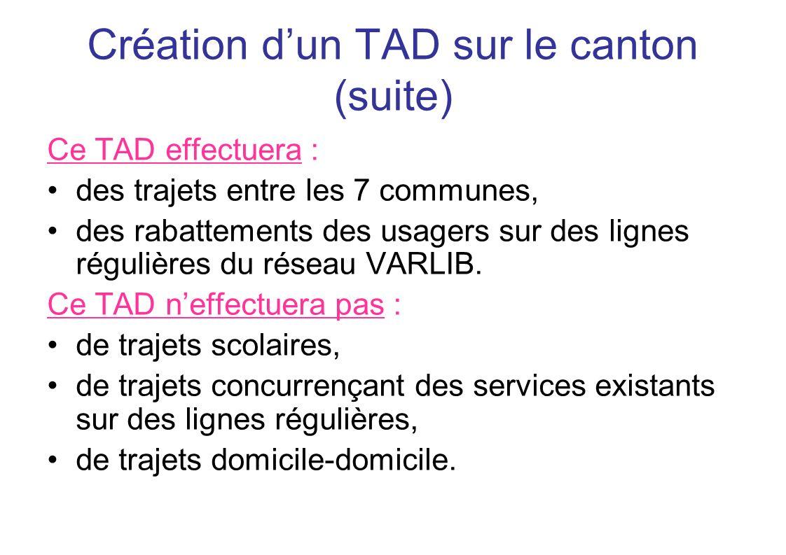 Création dun TAD sur le canton (suite) Ce TAD effectuera : des trajets entre les 7 communes, des rabattements des usagers sur des lignes régulières du