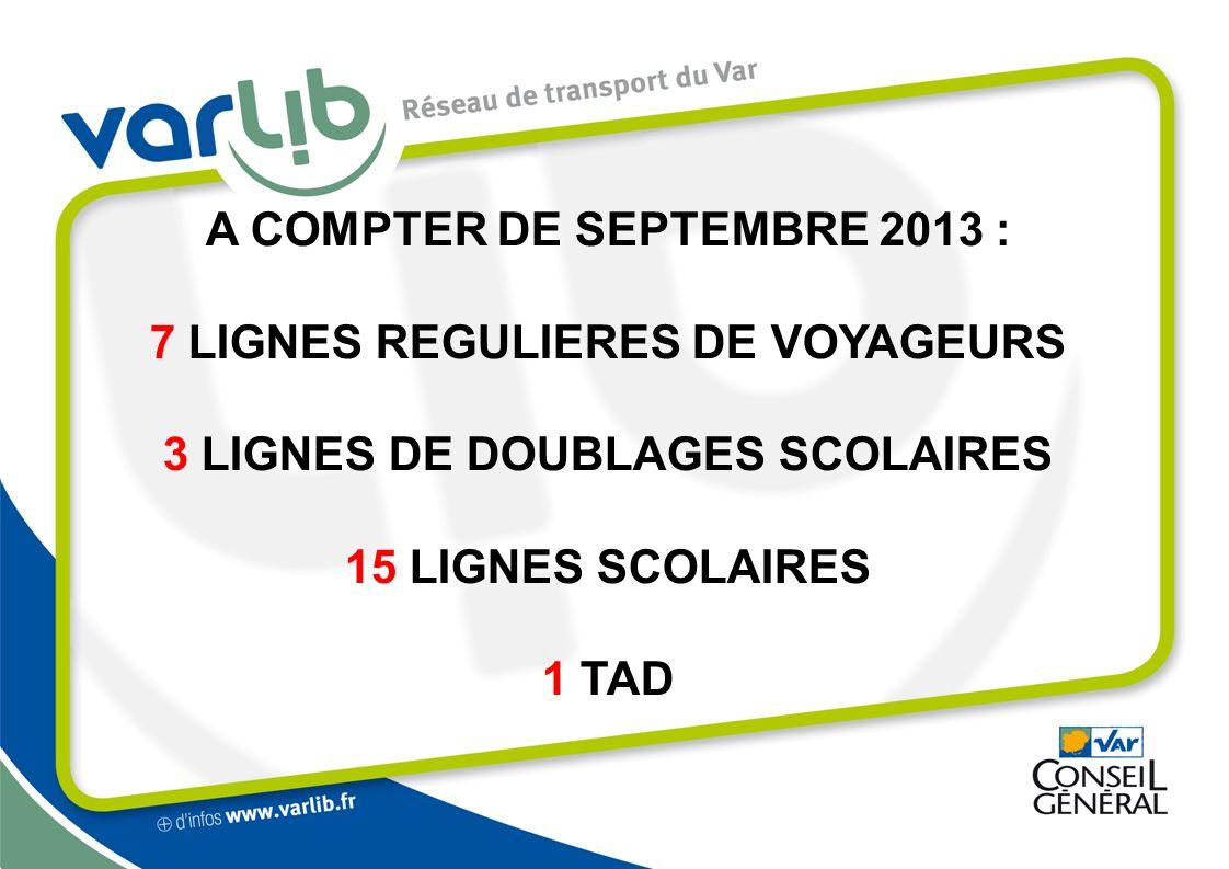 A COMPTER DE SEPTEMBRE 2013 : 7 LIGNES REGULIERES DE VOYAGEURS 3 LIGNES DE DOUBLAGES SCOLAIRES 15 LIGNES SCOLAIRES 1 TAD