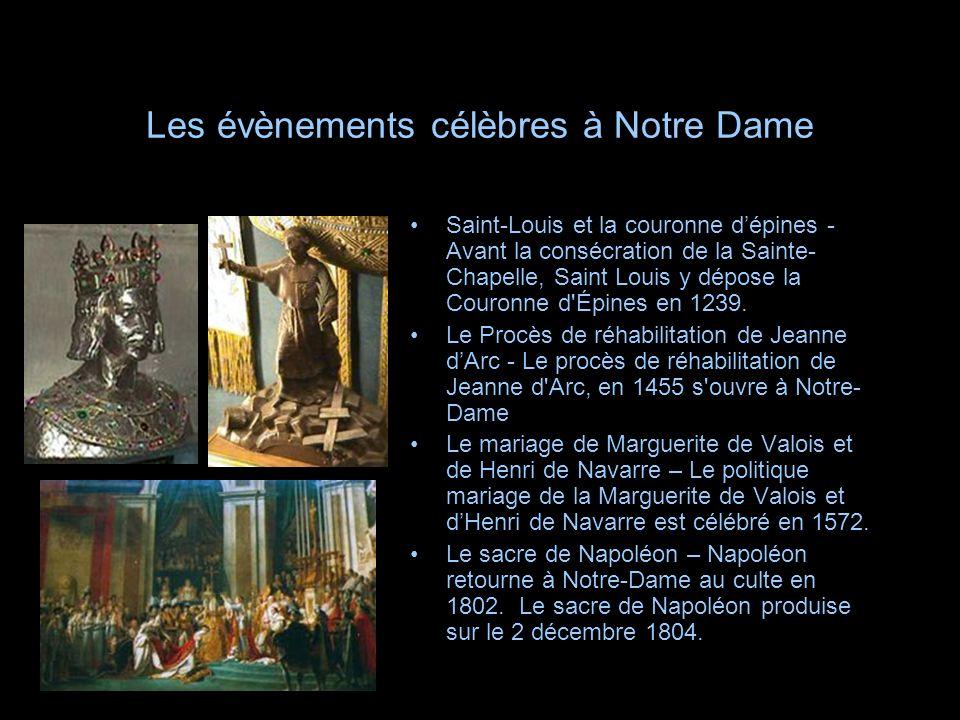 Les évènements célèbres à Notre Dame Saint-Louis et la couronne dépines - Avant la consécration de la Sainte- Chapelle, Saint Louis y dépose la Couron