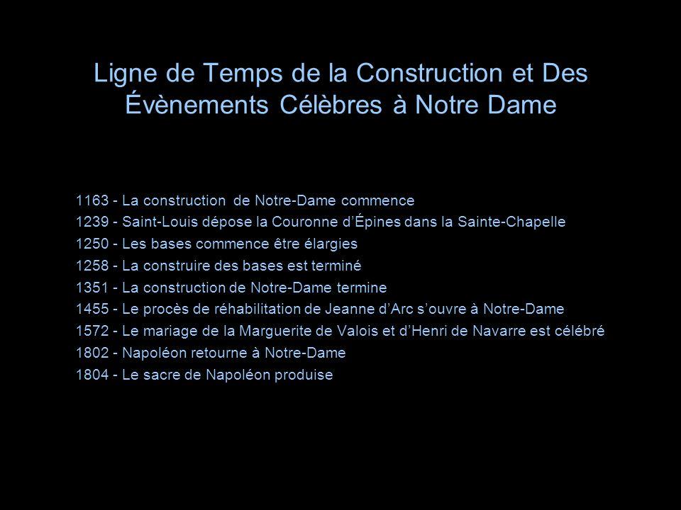 Ligne de Temps de la Construction et Des Évènements Célèbres à Notre Dame 1163 - La construction de Notre-Dame commence 1239 - Saint-Louis dépose la C