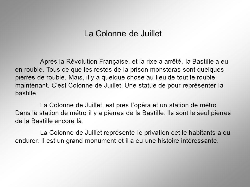La Colonne de Juillet Après la Révolution Française, et la rixe a arrêté, la Bastille a eu en rouble. Tous ce que les restes de la prison monsteras so