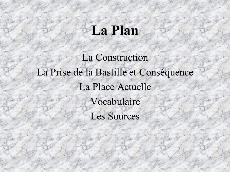 La Plan La Construction La Prise de la Bastille et Conséquence La Place Actuelle Vocabulaire Les Sources