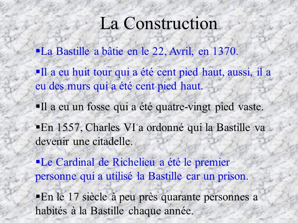 La Construction La Bastille a bâtie en le 22, Avril, en 1370. Il a eu huit tour qui a été cent pied haut, aussi, il a eu des murs qui a été cent pied