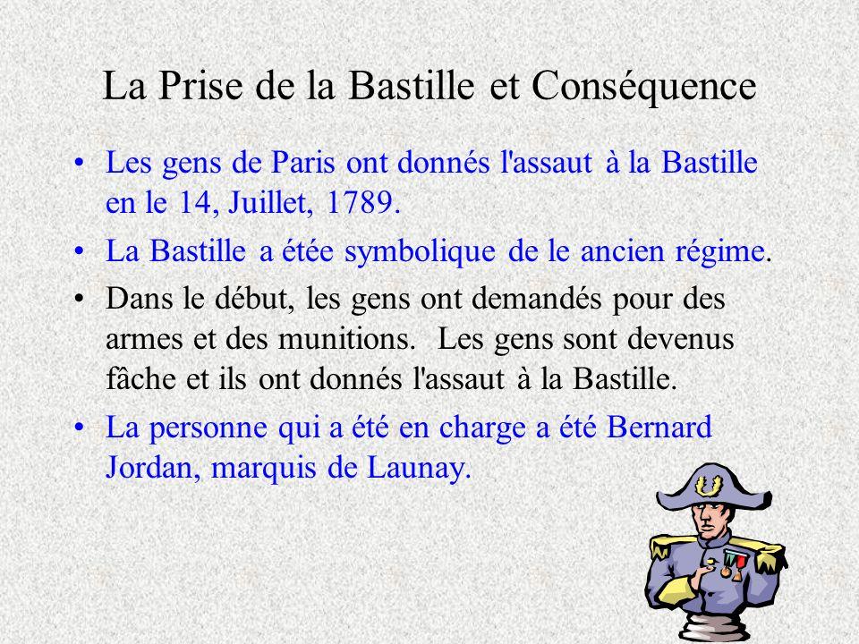 La Prise de la Bastille et Conséquence Les gens de Paris ont donnés l'assaut à la Bastille en le 14, Juillet, 1789. La Bastille a étée symbolique de l