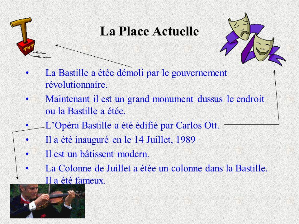 La Place Actuelle La Bastille a étée démoli par le gouvernement révolutionnaire. Maintenant il est un grand monument dussus le endroit ou la Bastille