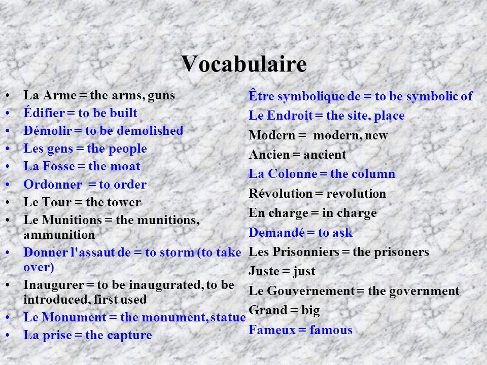 Vocabulaire La Arme = the arms, guns Édifier = to be built Démolir = to be demolished Les gens = the people La Fosse = the moat Ordonner = to order Le
