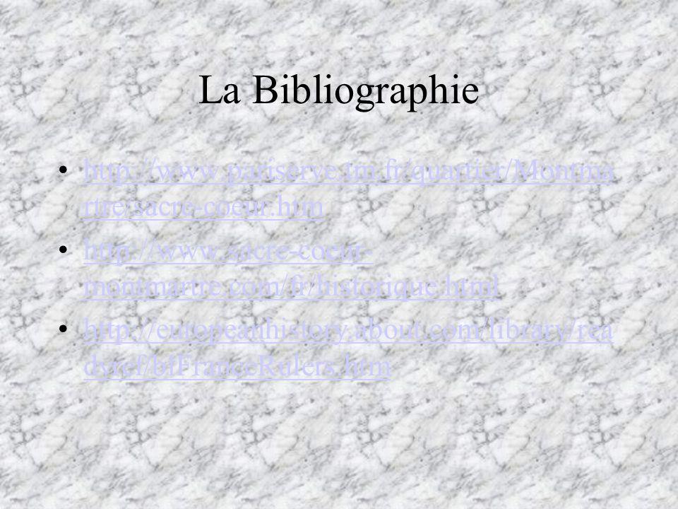 La Bibliographie http://www.pariserve.tm.fr/quartier/Montma rtre/sacre-coeur.htmhttp://www.pariserve.tm.fr/quartier/Montma rtre/sacre-coeur.htm http:/