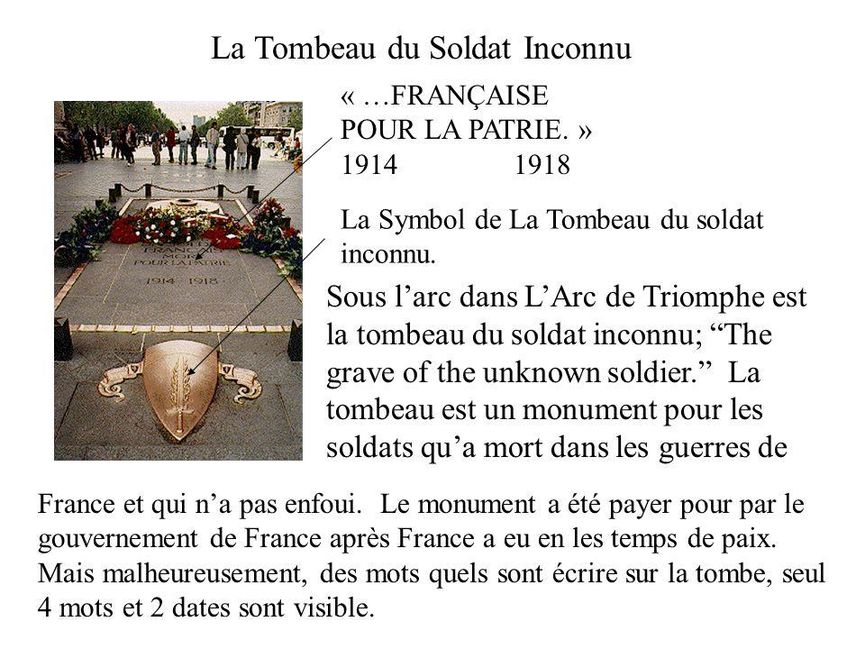 Sous larc dans LArc de Triomphe est la tombeau du soldat inconnu; The grave of the unknown soldier. La tombeau est un monument pour les soldats qua mo