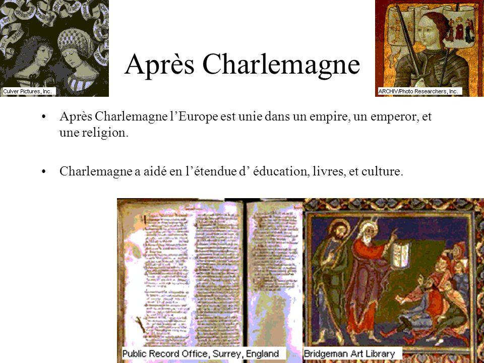 Après Charlemagne Après Charlemagne lEurope est unie dans un empire, un emperor, et une religion. Charlemagne a aidé en létendue d éducation, livres,