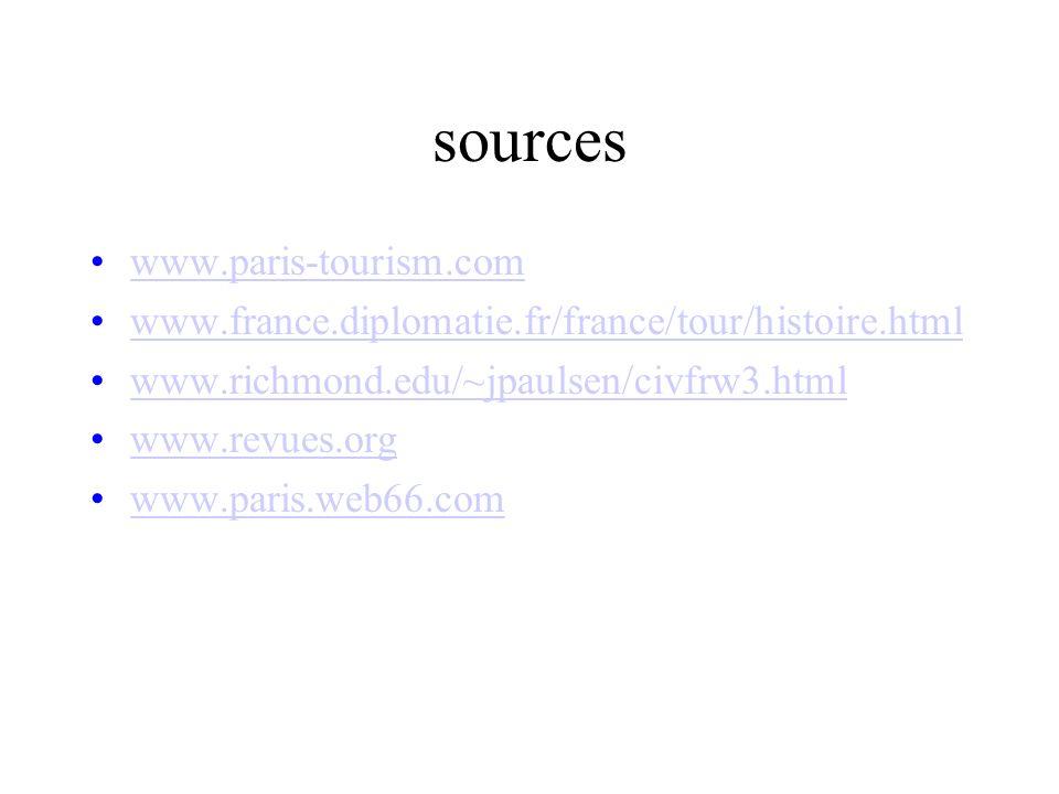 sources www.paris-tourism.com www.france.diplomatie.fr/france/tour/histoire.html www.richmond.edu/~jpaulsen/civfrw3.html www.revues.org www.paris.web6