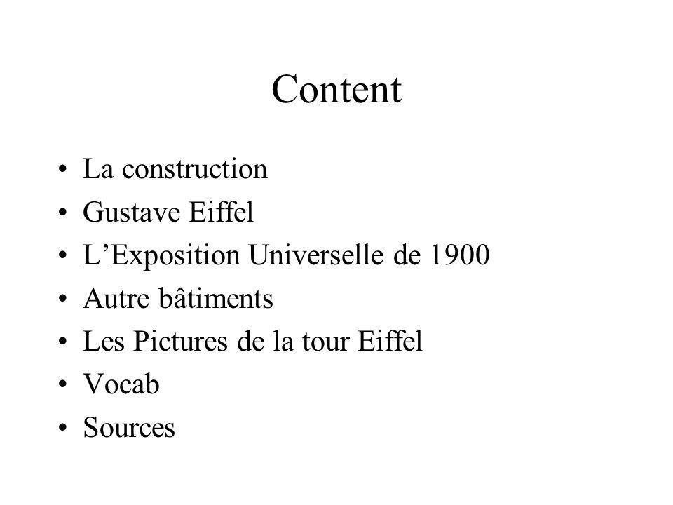 La construction La Tour Eiffel a été construite en 24 mois.