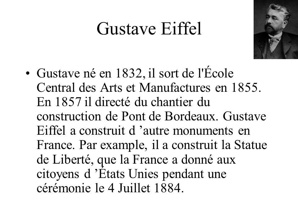 Gustave Eiffel Gustave né en 1832, il sort de l'École Central des Arts et Manufactures en 1855. En 1857 il directé du chantier du construction de Pont