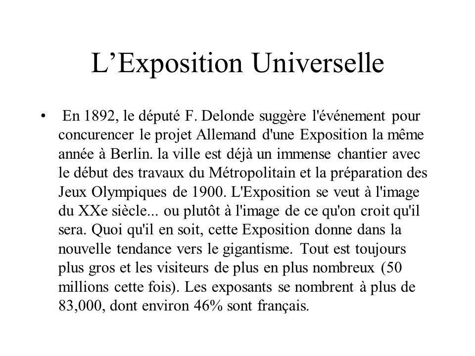 LExposition Universelle En 1892, le député F. Delonde suggère l'événement pour concurencer le projet Allemand d'une Exposition la même année à Berlin.