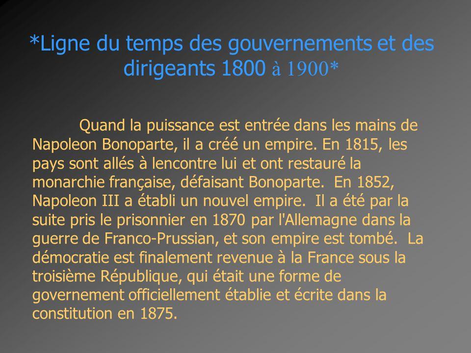 *Ligne du temps des gouvernements et des dirigeants 1800 à 1900* Quand la puissance est entrée dans les mains de Napoleon Bonoparte, il a créé un empi