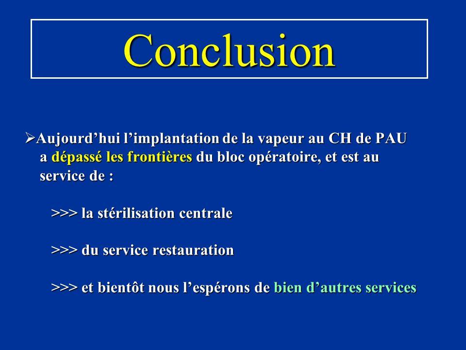 Aujourdhui limplantation de la vapeur au CH de PAU a dépassé les frontières du bloc opératoire, et est au service de : >>> la stérilisation centrale >