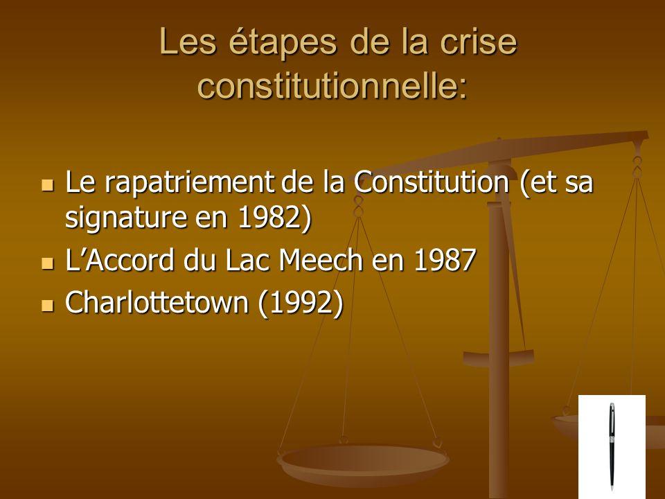 Les étapes de la crise constitutionnelle: Les étapes de la crise constitutionnelle: Le rapatriement de la Constitution (et sa signature en 1982) Le rapatriement de la Constitution (et sa signature en 1982) LAccord du Lac Meech en 1987 LAccord du Lac Meech en 1987 Charlottetown (1992) Charlottetown (1992)