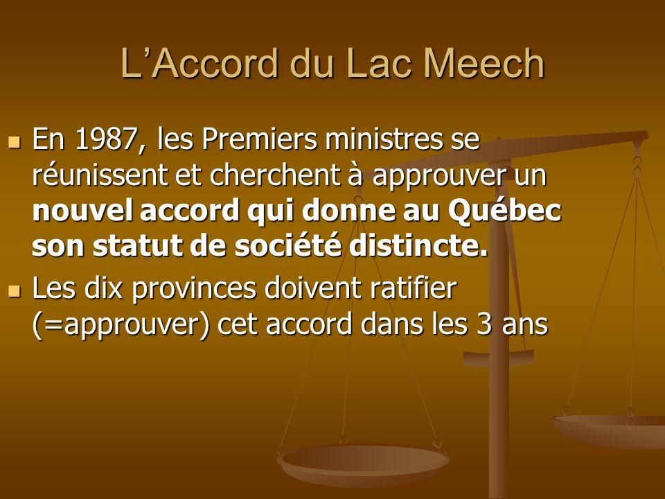 LAccord du Lac Meech En 1987, les Premiers ministres se réunissent et cherchent à approuver un nouvel accord qui donne au Québec son statut de société
