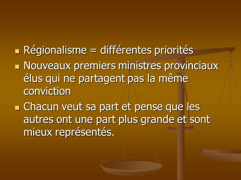 Régionalisme = différentes priorités Régionalisme = différentes priorités Nouveaux premiers ministres provinciaux élus qui ne partagent pas la même co