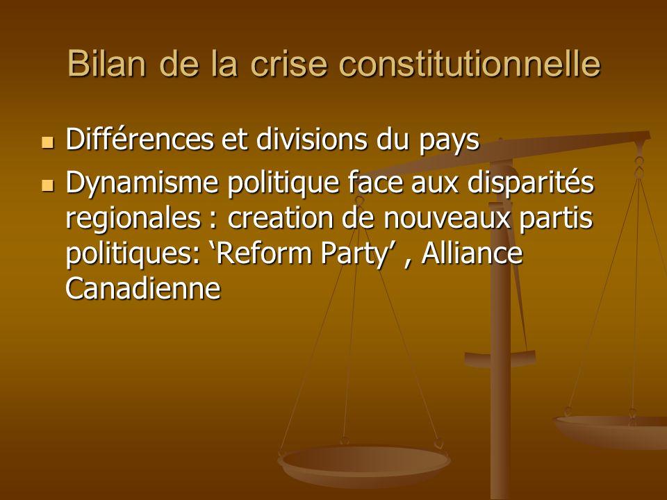Bilan de la crise constitutionnelle Différences et divisions du pays Différences et divisions du pays Dynamisme politique face aux disparités regional