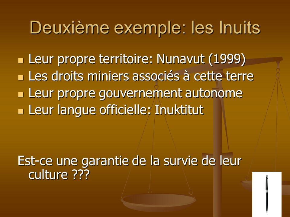 Deuxième exemple: les Inuits Leur propre territoire: Nunavut (1999) Leur propre territoire: Nunavut (1999) Les droits miniers associés à cette terre Les droits miniers associés à cette terre Leur propre gouvernement autonome Leur propre gouvernement autonome Leur langue officielle: Inuktitut Leur langue officielle: Inuktitut Est-ce une garantie de la survie de leur culture ???
