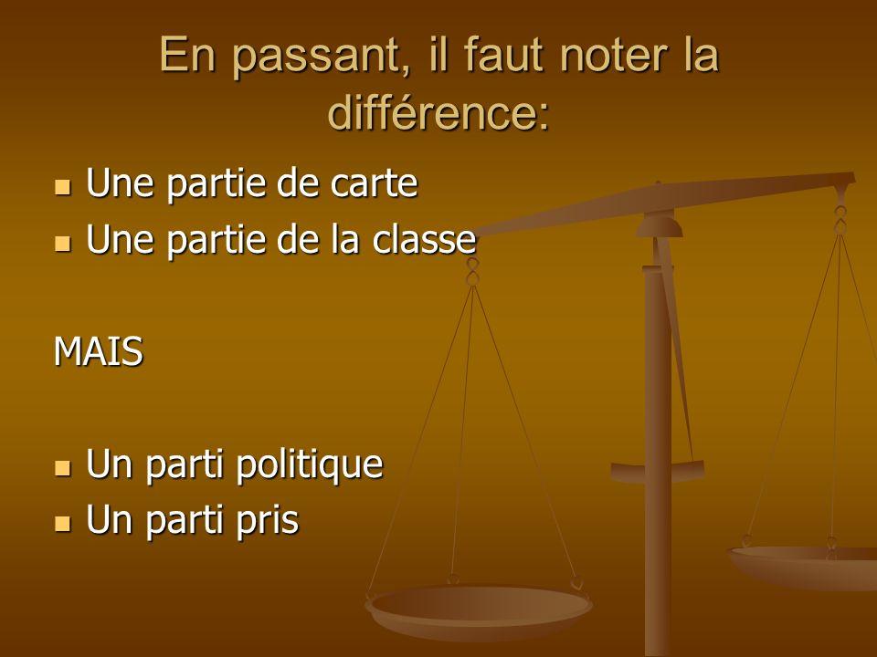 En passant, il faut noter la différence: Une partie de carte Une partie de carte Une partie de la classe Une partie de la classeMAIS Un parti politiqu