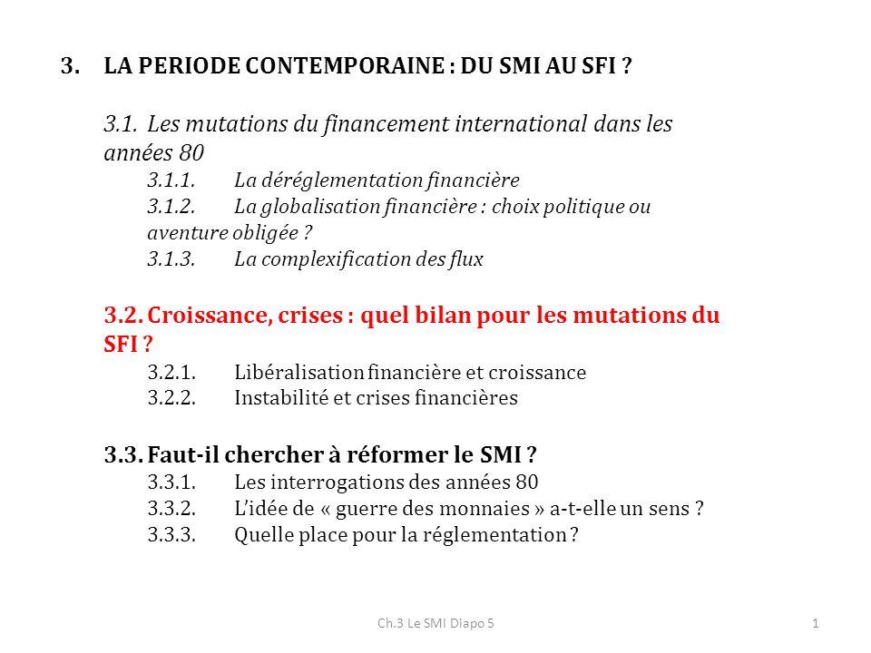 Ch.3 Le SMI Diapo 51 3.LA PERIODE CONTEMPORAINE : DU SMI AU SFI ? 3.1.Les mutations du financement international dans les années 80 3.1.1.La dérégleme