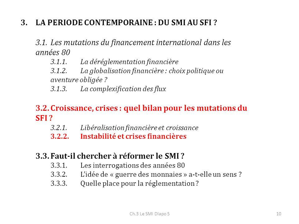 Ch.3 Le SMI Diapo 510 3.LA PERIODE CONTEMPORAINE : DU SMI AU SFI ? 3.1.Les mutations du financement international dans les années 80 3.1.1.La déréglem