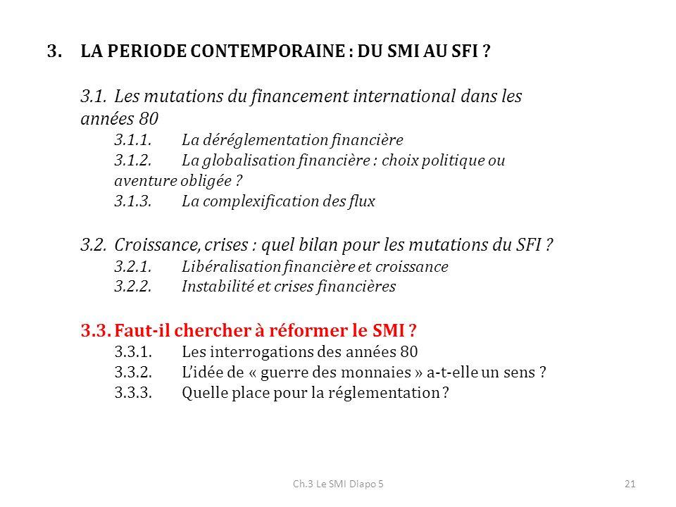 Ch.3 Le SMI Diapo 521 3.LA PERIODE CONTEMPORAINE : DU SMI AU SFI ? 3.1.Les mutations du financement international dans les années 80 3.1.1.La déréglem