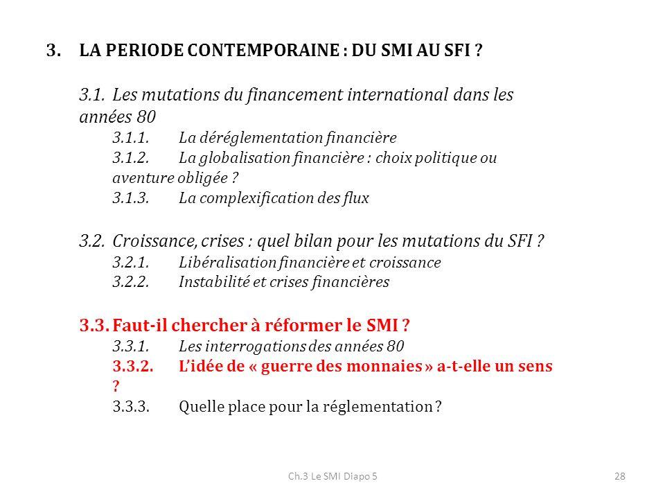 Ch.3 Le SMI Diapo 528 3.LA PERIODE CONTEMPORAINE : DU SMI AU SFI ? 3.1.Les mutations du financement international dans les années 80 3.1.1.La déréglem