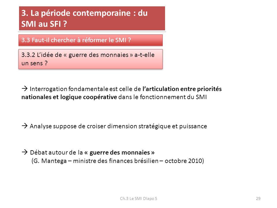 Ch.3 Le SMI Diapo 529 3. La période contemporaine : du SMI au SFI ? 3.3 Faut-il chercher à réformer le SMI ? 3.3.2 Lidée de « guerre des monnaies » a-