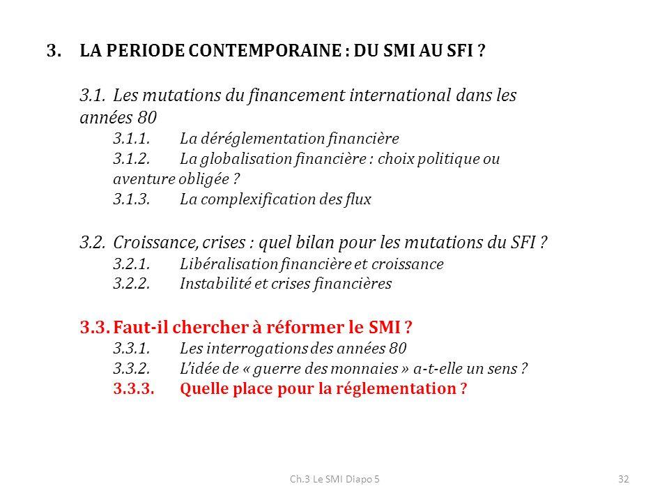 Ch.3 Le SMI Diapo 532 3.LA PERIODE CONTEMPORAINE : DU SMI AU SFI ? 3.1.Les mutations du financement international dans les années 80 3.1.1.La déréglem