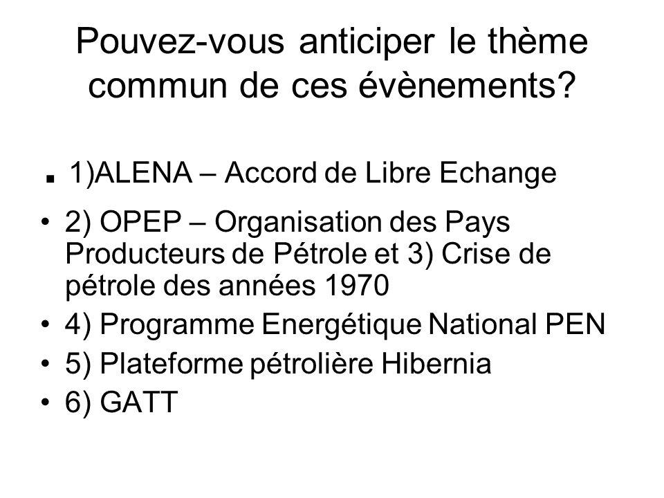Pouvez-vous anticiper le thème commun de ces évènements?. 1)ALENA – Accord de Libre Echange 2) OPEP – Organisation des Pays Producteurs de Pétrole et