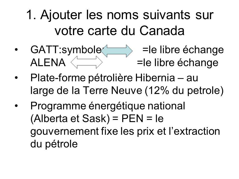 1. Ajouter les noms suivants sur votre carte du Canada GATT:symbole: =le libre échange ALENA =le libre échange Plate-forme pétrolière Hibernia – au la